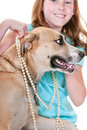 Girl dressing up dog Royalty Free Stock Image