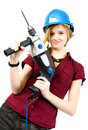 Girl with drill Stock Photos