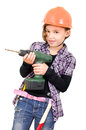 Girl with a drill girls as craftsman Royalty Free Stock Images