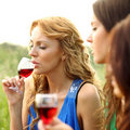 Girl drink wine Stock Photo