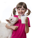 Girl drinking healthy goat milk little Royalty Free Stock Images