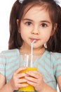 Girl drinking juice Royalty Free Stock Photo