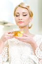 Girl drinking tea Royalty Free Stock Image