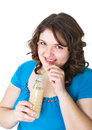 Girl drinks a dairy drink Stock Photos