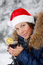 Girl drinks mulled wine Stock Photo