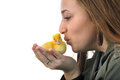 Girl and duckling Royalty Free Stock Image