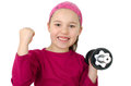 Girl with dumbbells doing weight training in front of a white backround Royalty Free Stock Image