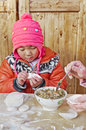 Girl dumplings Royalty Free Stock Photo