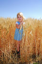 Girl in Durum Wheat Field Royalty Free Stock Image