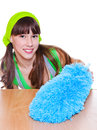 Girl with a duster soft Stock Photography