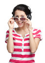 Girl with earphones woman in glasses isolated on white Royalty Free Stock Photo