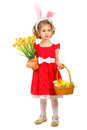 Girl with easter basket looking away full length of little to copy space isolated on white background Stock Photography