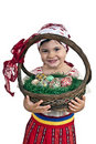 Girl with easter eggs in a basket Royalty Free Stock Photo