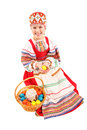 Girl with Easter eggs and a holiday cake Royalty Free Stock Photos