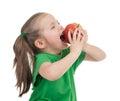 Girl eat apple on white Royalty Free Stock Photo