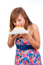 Girl eat cake Royalty Free Stock Image