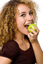 Girl Eating Apple Stock Images