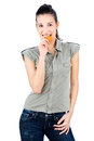 Girl eating cake pretty isolated on white background Royalty Free Stock Photography