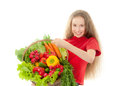 Girl eating healthy food beautiful with vegetables isolated on white background Royalty Free Stock Image