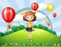 A girl eating an ice cream at the hilltop with hot air balloons illustration of Royalty Free Stock Photos