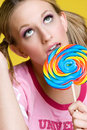 Girl Eating Lollipop Royalty Free Stock Photo