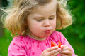 Girl is eating strawberry little in pink dress Royalty Free Stock Photo