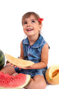 Girl eating a watermelon Stock Images