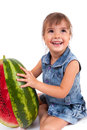 Girl eating a watermelon Stock Image