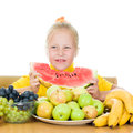 Girl eats fruit Royalty Free Stock Image