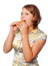 Girl eats a hamburger Royalty Free Stock Images