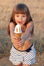Girl eats ice cream Stock Photo