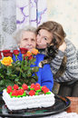 Girl with elderly woman Royalty Free Stock Photo