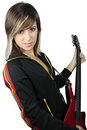 Girl with electric guitar Stock Photo