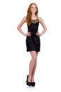 A girl in elegant black mini dress isolated on the Royalty Free Stock Photo
