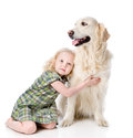 Girl embraces a Golden Retriever. Royalty Free Stock Photo