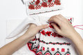 stock image of  Girl embroider pattern on the towel.