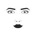 Girl emotion face cartoon vector illustration