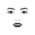 Girl emotion face laugh cartoon vector illustration
