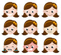 Girl Emotion Faces Cartoon. set of female avatar expressions. Royalty Free Stock Photo