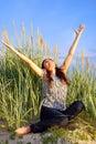 Girl enjoy the sun Royalty Free Stock Photo