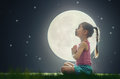 Girl enjoying meditation and yoga Royalty Free Stock Photo