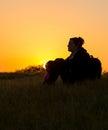 Girl Enjoying Nature At Sunset