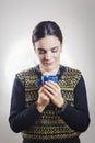 Girl enjoying smell of coffee Royalty Free Stock Photo
