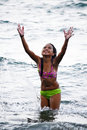 Girl enjoying summer cute asian the great water during Royalty Free Stock Photography