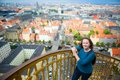 Girl enjoying view of copenhagen from top vor frelsers kirke Stock Photos