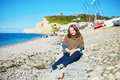 Girl in Etretat Royalty Free Stock Photo