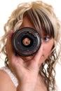 Girl examine lense Royalty Free Stock Photo