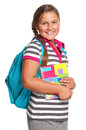 Girl with exercise books Stock Images
