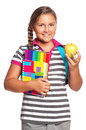 Girl with exercise books Stock Image
