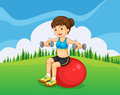 A girl exercising with a barbell and a bouncing ball illustration of Royalty Free Stock Photography
